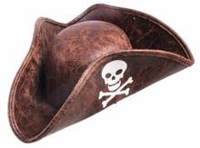 Mini Pirate Hat Distressed Brown Buccaneer Hat