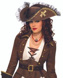 Pirate Hat Brown with Gold Trim and a Black Organza Trim