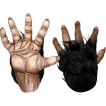 Chimp Brown Hands Pair of Latex Gloves with Black Fur