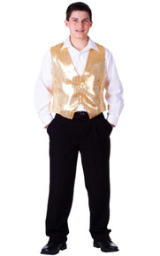 Sequined Men's Vest - Gold