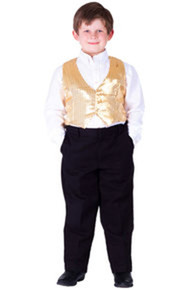 Sequined Child Size Vest - Gold