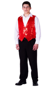 Sequined Men's Vest - Red
