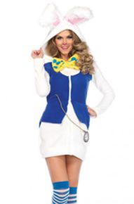 Cozy White Rabbit Hooded Dress