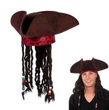Pirate Hat Brown with attached Pirate Wig and Red Bandana