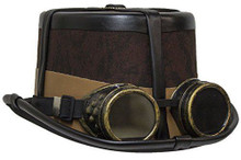 Brown Steampunk Hat with Black Straps, Bourbon Colored Band & Antique Brass Finish Goggles