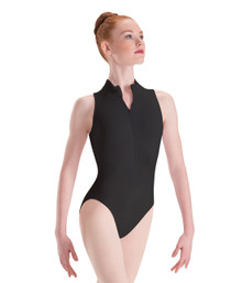 If modern and minimalist is your preference in leotards, you'll feel at home in our Zip-Front Mock-T High-Cut Leotard. The zippered front offers a snug fit, and the moderate mock neck and high-cut legs balance nicely to create a clean, unique look. This dance apparel can be worn for almost any discipline, and it makes quick changes a breeze. Wear it alone or as a foundation garment over or under any of Motionwear's shorts or leggings. Our leotard comes in our supple Silkskyn microfiber, a heavy, jersey-knit cotton with spandex and durable, breathable Tencel®. made by motionwear. adult size.