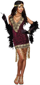 20's Sophisticated Lady Flapper Sequin Dress w/ Feather Headpiece