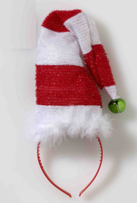 Who wants to hear jingle bells? The Striped Santa Hat with Bell Costume Headband looks great with many Christmas costumes or just wear it to spread some holiday cheer.    One size fits most adults Headband style with jingle bell top Great for a variety of Christmas costumes Brand new in manufacturer packaging