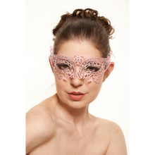 Pink Laser Cut Eye Mask with Clear Stones White Satin Tie