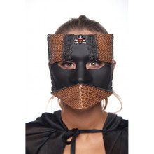 Venetian Bauta Mask Black with Brown Accents Ribbon Tie
