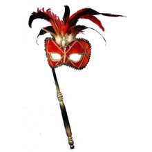 Venetian Mask with Stick Red with Gold Trim and Feathers