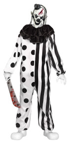 Killer Clown Black & White Teen Costume with Mask