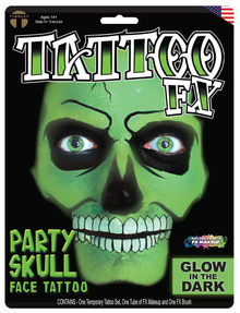 Party Skull Face Tattoo Kit Glow in the Dark Tattoos Makeup Instructions
