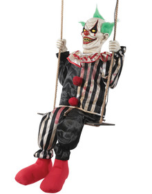 Swinging Chuckles Animated Prop Scary Clown On a Swing