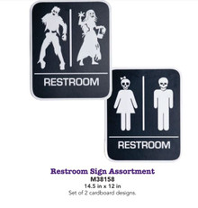 Restroom Sign Assortment Set of 2 Cardboard designs