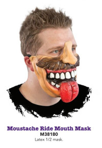 Moustache Ride Mouth Mask with Black Elastic Strap to hold in place