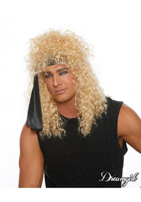 Heavy Metal Rocker Wig with Black Head Wrap Blonde