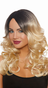 Long Wavy Ombre Blond and Black Wig