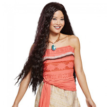 Disguise's  Moana Disney's Licensed Wig     Long Wavy Dark Brown Wig  100% Polyester  Adjustable Strap to Fit Anyone!     Great Match to Disguise's Moana Licensed Costume!!