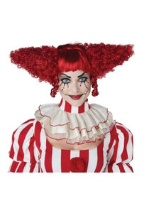 Creepy Clown Red Wig Womens and Girls
