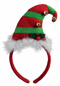 Elf Headband Red and Green with Fur trim