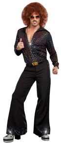 Disco Dude Mens Button Down 70s Shirt