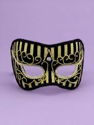 Half Mask Gold and Black with Headband