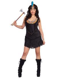 Reservation Royalty Plus Size Native American Black Dress w/ Headpiece