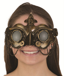 Steampunk mask bronze with goggles