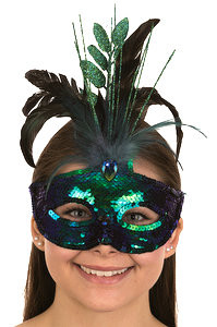 Sequin and feather carnival mask