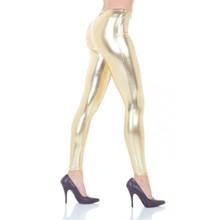 80's Leggings ladies liquid metal gold