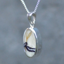 Derbyshire blue john and 925 silver pendant on silver curb chain