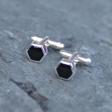 Small hexagon Whitby jet cufflinks