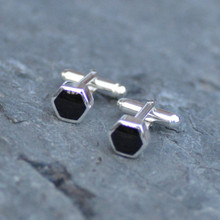 Hand crafted hexagon Whitby Jet and sterling silver cufflinks with T bar