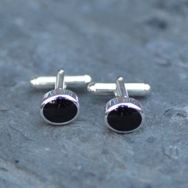 Gents sterling silver and Whitby Jet deep oval cufflinks with swivel bar