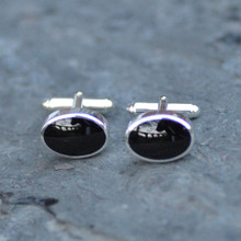 Heavy oval 925 silver and Whitby Jet oval T bar cufflinks