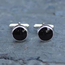Round Jet and sterling silver gents T bar cufflinks handmade in Whitby
