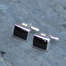 Oblong Whitby Jet cufflinks from abbey jet