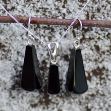 Feceted Whitby Jet pendant and earring set
