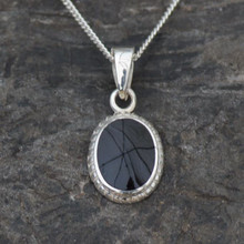 Small traditional oval rope edge Whitby Jet and sterling silver pendant