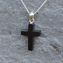 Hand carved Whitby Jet cross pendant on 9ct gold chain
