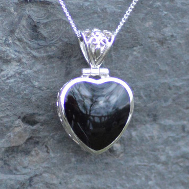 whitby jet and sterling silver filigree heart pendant