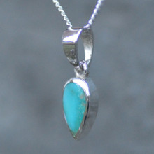 Dainty Kingman turquoise and 925 silver teardrop necklace