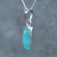 Kingman turquoise and 925 silver rectangular necklace