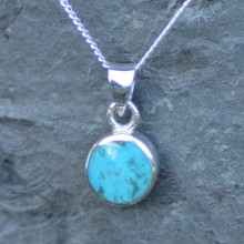 Unique reversible Whitby Jet and Kingman Turquoise round pendant with sterling silver