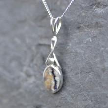 Derbyshire blue john and sterling silver Celtic twist pendant