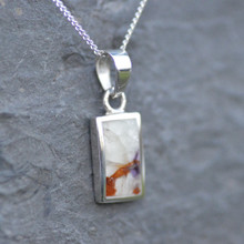 Handmade 925 silver necklace featuring small oblong Blue John stone