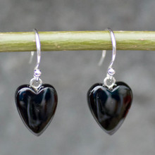 handmade whitby jet and sterling silver carved heart earrings