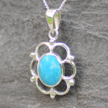 Kingman turquoise and sterling silver oval frill and bead pendant