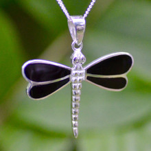 Whitby Jet Four Stone Dragonfly Pendant 466P